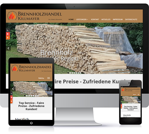 Referenzen Webdesign Heimann - Brennholzhandel Killmayer